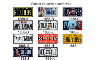 Placas de Carro Decorativas